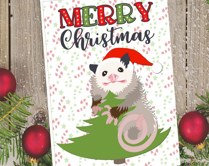 "5x7"" Opossum Merry Christmas Greeting Card Possum Holiday Card FAST SHIPPING"