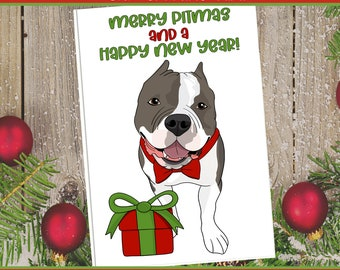 "5x7"" ""Merry Pitmas"" Christmas Card Grey and White Pit Bull Pitbull Pittie Holiday FAST SHIPPING"