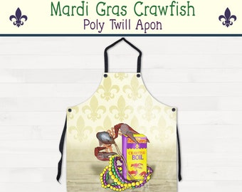 Mardi Gras Crawfish Apron Louisiana Kitchen Housewarming Wedding Gift