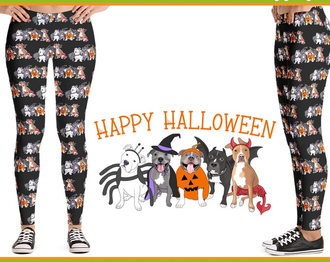 Halloween Pitties Pitbull Womens Brushed Suede Pit Bull Leggings