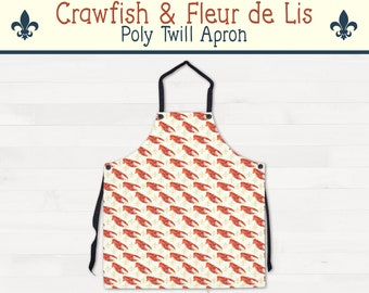 Crawfish Fleur de Lis Apron Louisiana Kitchen Housewarming Wedding Gift