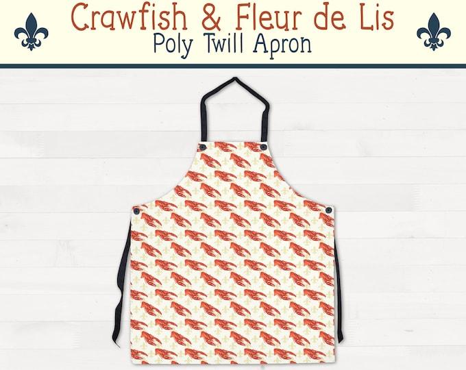Crawfish Fleur de Lis Apron Louisiana Kitchen Housewarming Wedding Gift