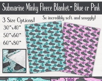Submarine Anchor Ultra Soft Minky Throw Blanket Nursery Birthday Baby Shower Gift  *Free Shipping*