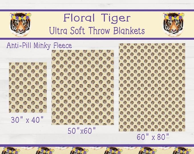 Floral Tiger Ultra Soft Minky Throw Blanket Girl LSU Nursery Geaux Tigers Housewarming Wedding Birthday Gift  *Free Shipping*