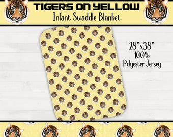 Tigers On Yellow Background Infant Swaddle Girl Boy Tiger Nursery Geaux Tigers *Free Shipping*
