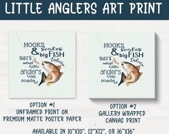 Little Anglers Fishing Fish Themed Nursery Kids Room Art Print Canvas FREE SHIPPING