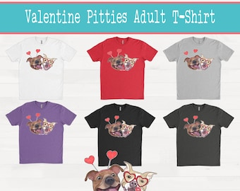 Pittie Kisses Valentine Pitties Pitbull Adult T-shirt Tee Shirt Pit Bull Valentines Day Outfit