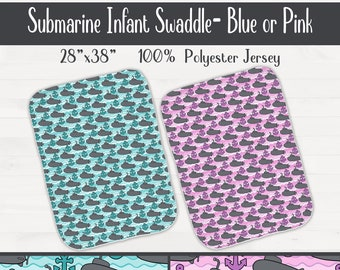 Submarine Anchor Infant Swaddle Blanket Nursery Birthday Baby Shower Gift  *Free Shipping*
