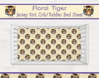 Floral Tiger Crib Sheet or Toddler Bed Sheet Girl LSU Nursery Geaux Tigers *Free Shipping*