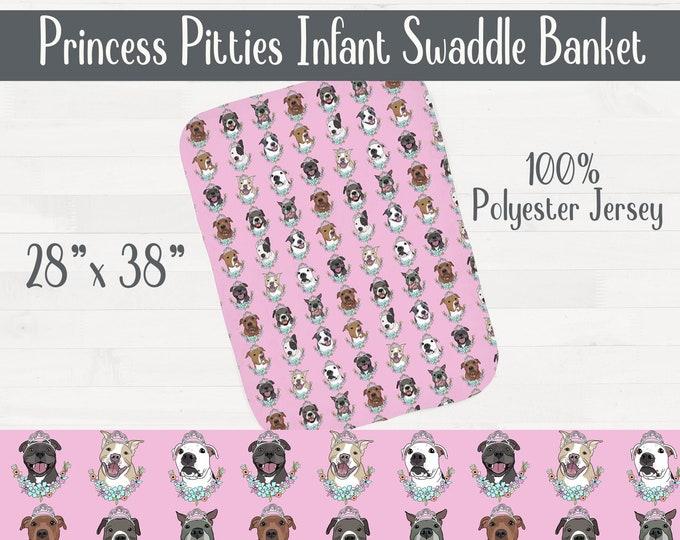 Princess Pitties Pit bull Newborn Swaddle Blanket Pitbull Baby Shower Gift *Free Shipping*