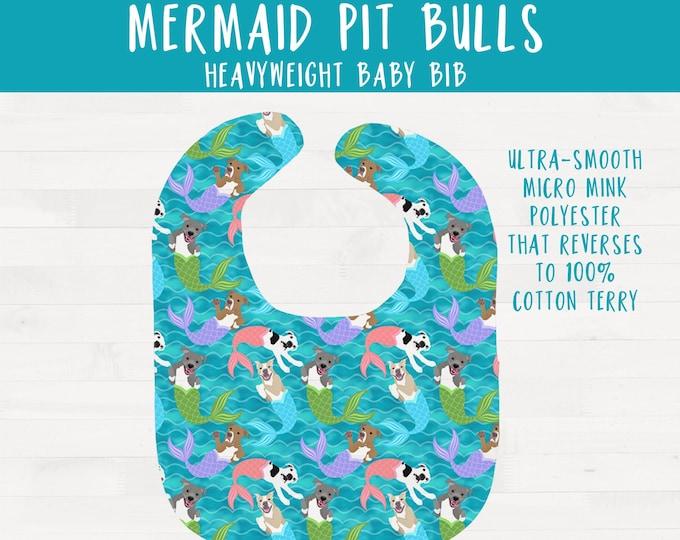 Mermaid Pitbulls Pit bull Infant Bib Pitbull Nursery Baby Shower Gift *Free Shipping*