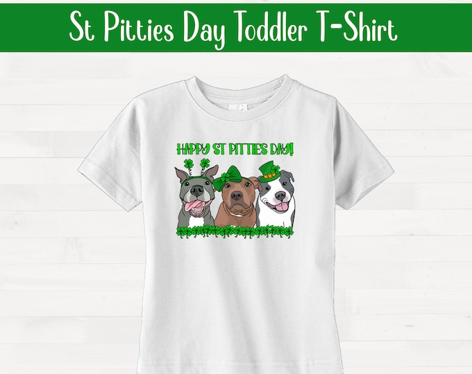 Happy St Pitties Day! Short Sleeve Toddler Pitbull Shirt Saint Patricks Day Pit Bull Kids Valentines Day Outfit