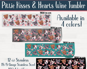 Pittie Kisses and Hearts Pitbull Stemless Wine Tumbler Pit Bull Valentine Birthday Housewarming Wedding Gift