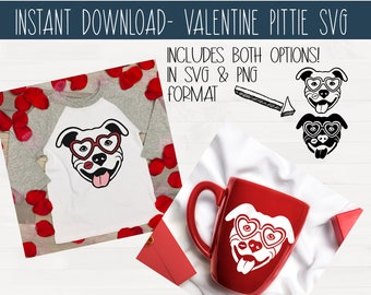 SVG Valentine Pit Bull Set of Two Instant Download svg eps png pdf vinyl cut file Valentine's Day Pitbull Pittie