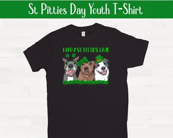 Happy St Pitties Day! Short Sleeve Youth Pitbull Shirt Saint Patricks Day Pit Bull Kids Valentines Day Outfit FREE SHIPPING