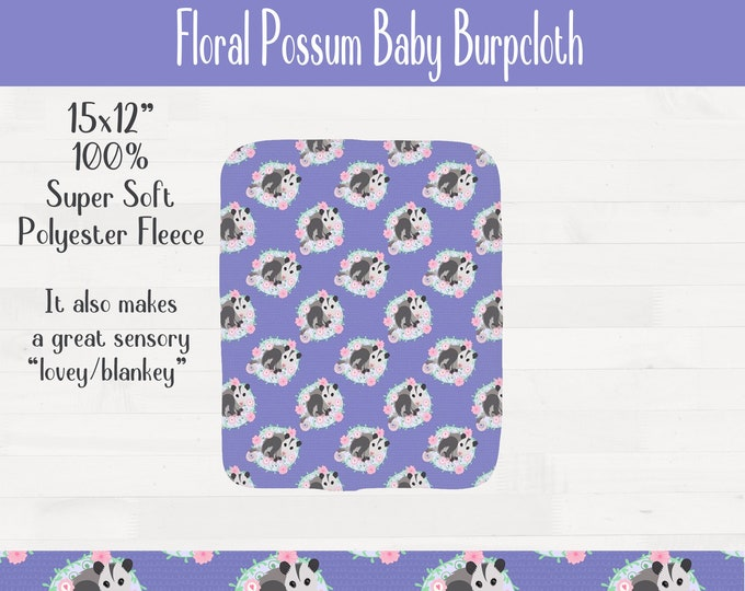 Floral Possum Infant Baby Burpcloth Opossum Nursery Baby Shower Gift *Free Shipping*