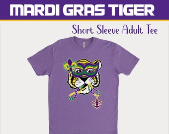 Mardi Gras Tiger Adult Mens Womens Unisex T-Shirt