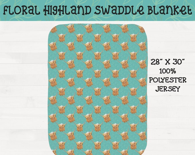 Floral Highland Cows Infant Swaddle Girl Scottish Highland Flower Crown Nursery Baby Shower Gift *Free Shipping*