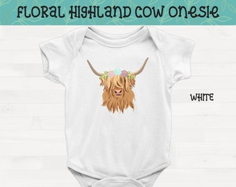 Floral Highland Cow Short Sleeve Infant Pitbull Onesie Pit Bull Baby Shower Gift FREE SHIPPING