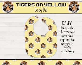 Tigers on Yellow Background Infant Baby Bib Girl Boy Tiger Nursery Baby Shower Gift Geaux Tigers *Free Shipping*