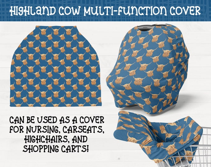 Highland Cows on Blue Background Nursing Carseat High Chair Shopping Cart Cover Scottish Highland Baby Nursery Shower Gift *Free Shipping*