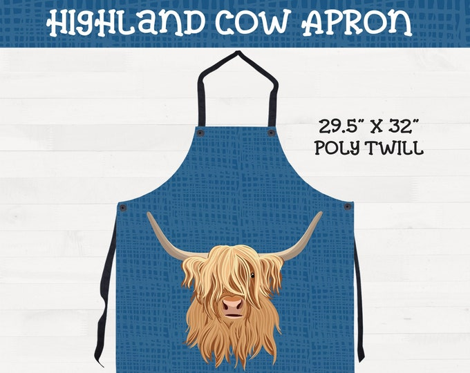 Highland Cow Apron on Blue Background Kitchen Housewarming Wedding Gift *Free Shipping*