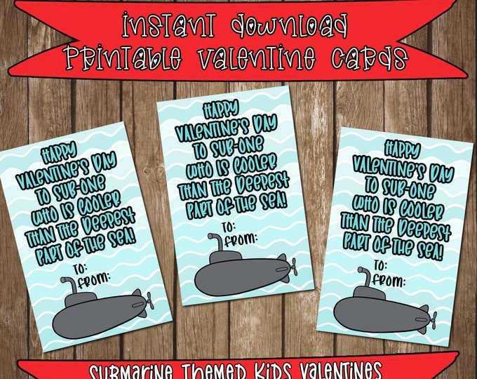 Printable Submarine Themed Kids School Valentine's Day Cards Instant Digital Download