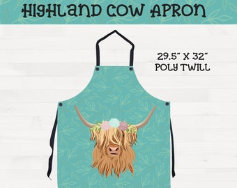 Floral Highland Cow on Mint Teal Background Scottish Highland Flower Crown Kitchen Housewarming Wedding Gift *Free Shipping*