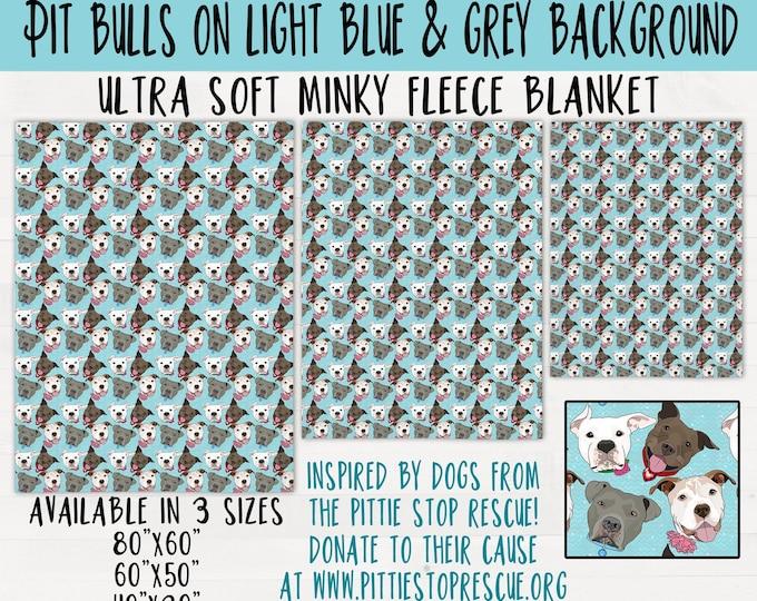 Pit Bulls on Blue & Grey Background Minky Fleece Pitbull Throw Blanket Pit bull Baby Shower Housewarming Wedding Gift *FREE SHIPPING*