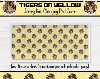 Tigers on Yellow Background Changing Pad Cover Boy Girl Nursery Geaux Tigers *Free Shipping*