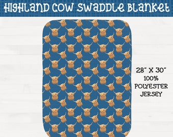 Highland Cows on Blue Background Infant Swaddle Girl Boy Scottish Highland Nursery *Free Shipping*