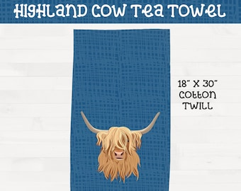 Highland Cow on Blue Background Tea Towel Scottish Highland Housewarming Wedding Gift *Free Shipping+