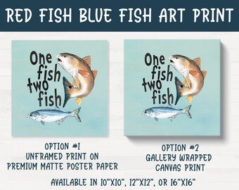 Red Fish Blue Fish Fishing Fish Themed Nursery Kids Room Art Print Canvas FREE SHIPPING