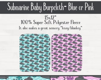 Submarine Anchor Infant Baby Burpcloth Nursery Birthday Baby Shower Gift  *Free Shipping*