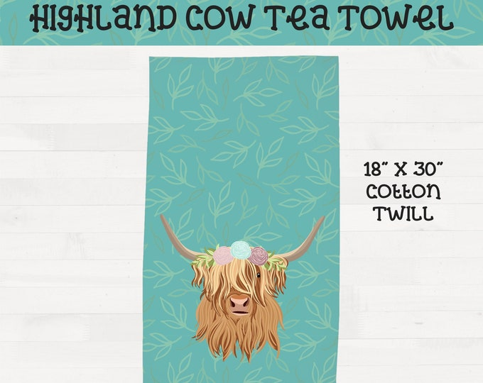 Floral Highland Cow on Mint Teal Background Tea Towel Scottish Highland Housewarming Wedding Gift *Free Shipping+