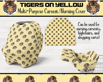 Tigers On Yellow Infant Nursing Cover Carseat Shopping Cart Cover Girl Boy Tiger Nursery Geaux Tigers *Free Shipping*