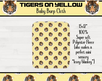 Tigers on Yellow Background Infant Baby Burpcloth Girl Boy Tiger Nursery Geaux Tigers LSU Baby Shower Gift  *Free Shipping*