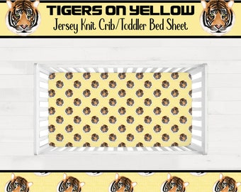 Tigers on Yellow Background Crib Sheet or Toddler Bed Sheet Boy Girl Tiger Themed Nursery Geaux Tigers *Free Shipping*