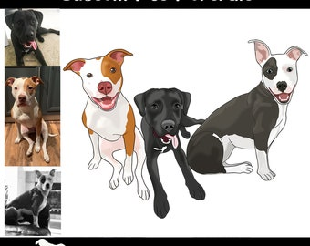 Custom Pet Portrait Cartoon Digital Drawing Pet Memorial Dog Owner Gift  *Digital*