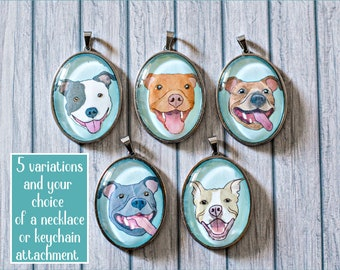 Pit Bull Glass Cabochon Pendant Necklace or Keychain Pitbull Mom Lover Gift Accessory
