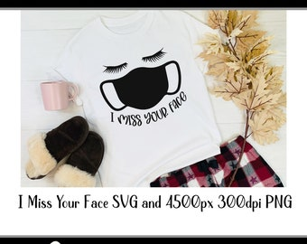 "svg ""I miss you face"" face mask for crafters and vinyl cutting svg and png files Instant Digital Download"
