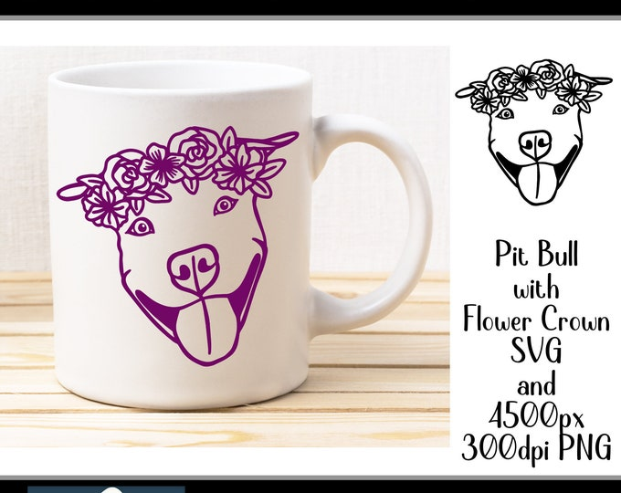svg Pit Bull with Flower Crown for crafters and vinyl cutting svg and png files Pitbull Instant Digital Download