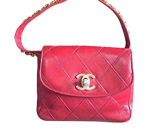 """9e44ddb742f7 Vintage CHANEL red leather 2.55 waist purse, fanny pack, hip bag with gold  CC closure and chain belt. Belt 28""""- 33""""(71cm~77cm)."""