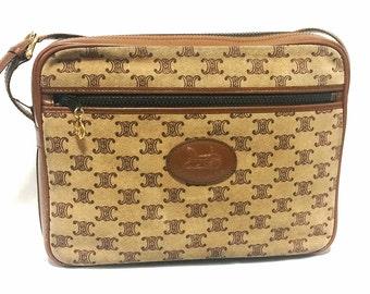 23ad52ff67fd Vintage Celine tanned brown suede leather in macadam blason pattern shoulder  bag. Unisex use. Camera style bag