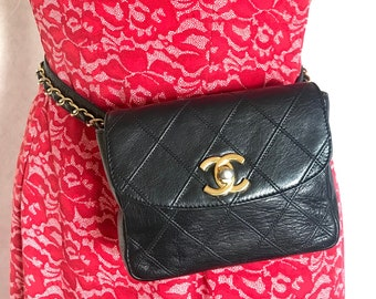 ca5d1b2125ec Vintage CHANEL black leather waist purse, fanny pack with golden chain belt  and CC closure hock. 60-67cm, 23.5