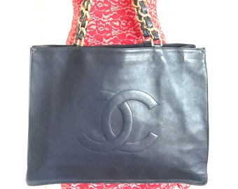 b83f5e3b45 Vintage CHANEL navy calfskin large golden chain shoulder tote bag with  large CC stitch mark. Classic purse.