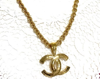 b63b4beac3a7 Vintage CHANEL golden chain necklace with large CC mark logo pendant top.  Gorgeous jewelry. Best gift idea.