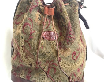 b7d3992a515 Vintage Mulberry khaki and wine brown gabeline weave fabric hobo bucket shoulder  bag with leather trimming. Made in England. Masterpiece.