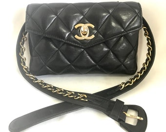 95424a0c50c1 Vintage CHANEL black lamb belt bag, fanny pack with golden chain belt & CC  closure. Good for waist size 26