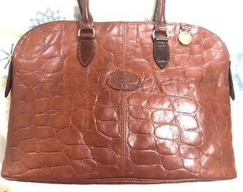 1ee617cc70ba Vintage Mulberry croc embossed brown leather large tote in bolide bag  shape. Masterpiece back in the era. Roger Saul era. Unisex daily bag
